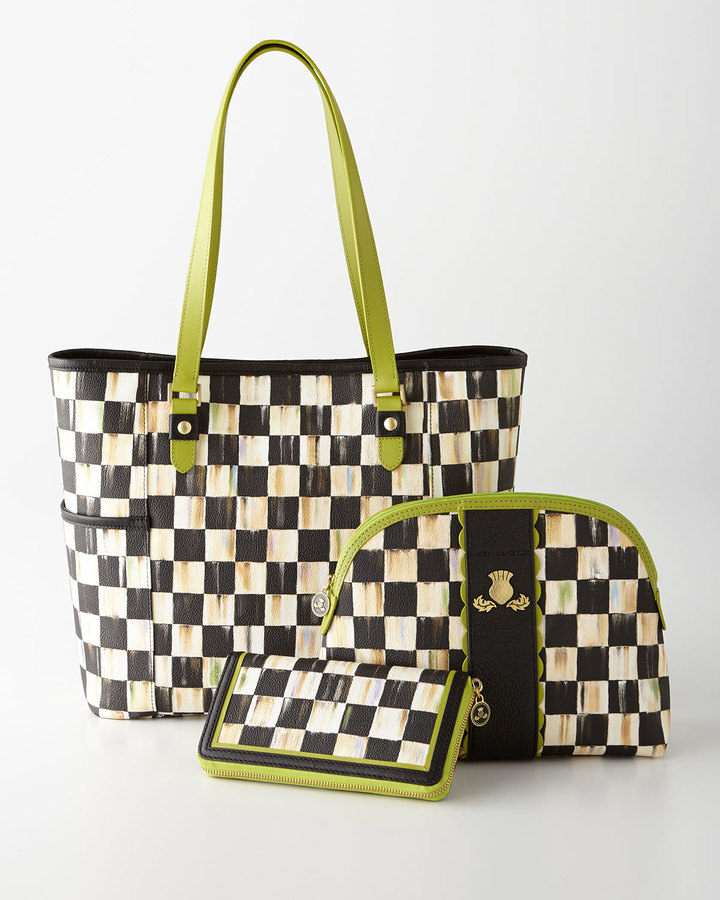 Mackenzie Childs MacKenzie-Childs Courtly Check Travel Accessories with Chartreuse Trim
