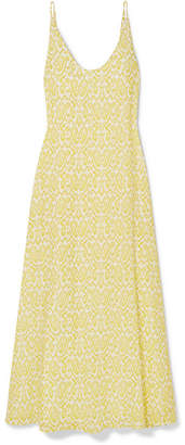 Eywasouls Malibu - Jane Printed Cotton-voile Maxi Dress - Pastel yellow