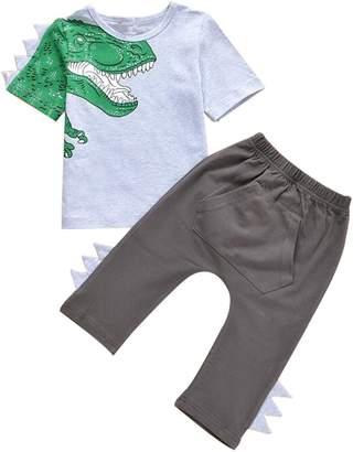 NANYUAYAKY Baby Boys Clothes 3D Dinosaur Short Sleeve T-Shirt +Long Pants 2Pcs Outfit Set Size