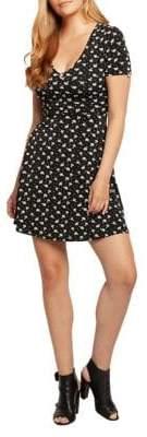 Dex Lace-Up Floral Fit--Flare Dress