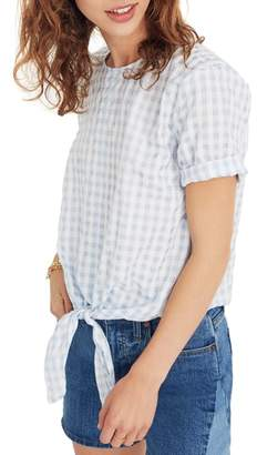 Madewell Button Back Tie Front Gingham Check Top