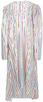 ATTICO off-shoulder striped long dress