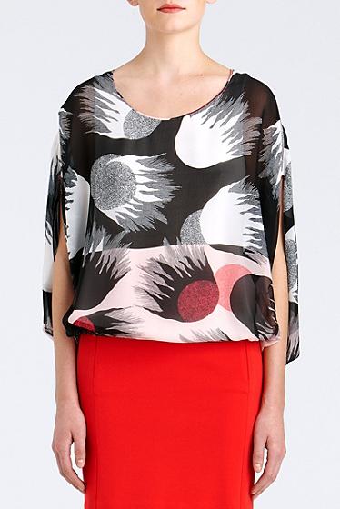 Diane von Furstenberg Robyn Silk Chiffon Blouse In Fire Rays Pink