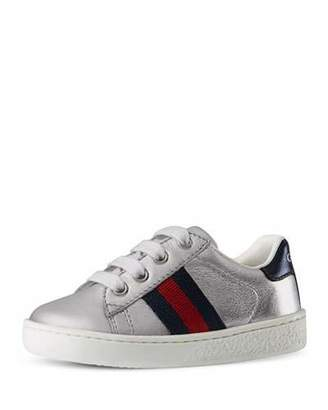 Gucci New Ace Metallic Leather Sneaker, Toddler Sizes 4-10