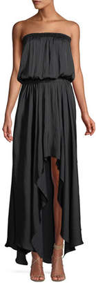 Halston Strapless Ruched Handkerchief Gown