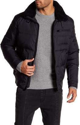 Kenneth Cole New York Nylon Oxford Down Removable Faux Shearling Collar Jacket