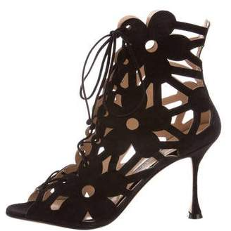 Manolo Blahnik Suede Lace-Up Ankle Boots w/ Tags