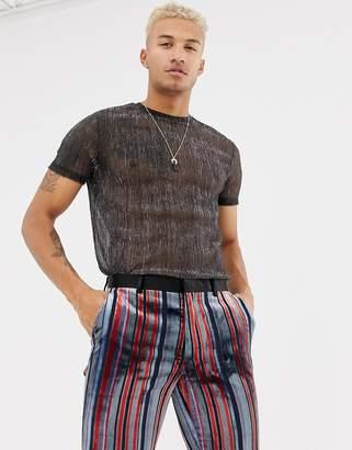 Asos DESIGN longline t-shirt in sheer metallic fabric in silver