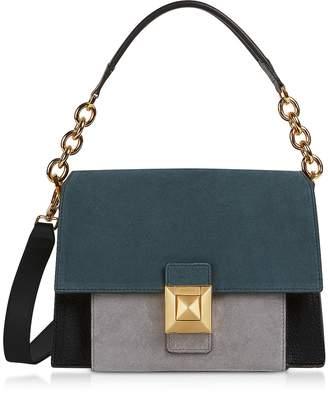 Furla Suede and Leather Diva S Shoulder Bag