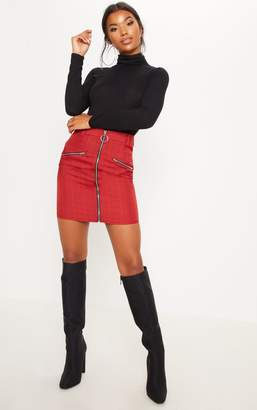 PrettyLittleThing Red Zip Front Check Mini Skirt