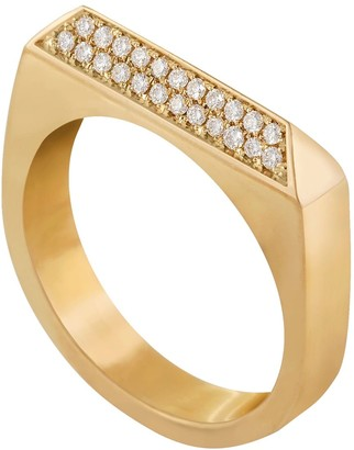 Edge Only 14Ct Gold Double Diamond Rooftop Ring