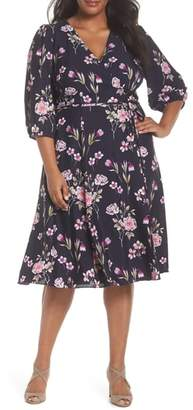 Eliza J Puff Sleeve Floral Wrap Midi Dress