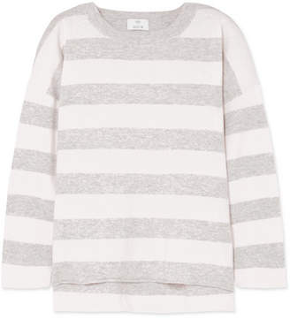 Allude Striped Wool And Cashmere-blend Sweater - Gray