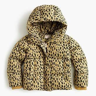 J.Crew Girls' leopard-print puffer jacket with eco-friendly Primaloft®