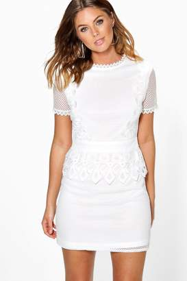 boohoo Boutique Crochet Lace Peplum Shift Dress
