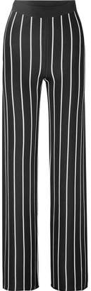 Balmain Striped Woven Wide-leg Pants - Black