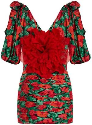 Gucci Flower-embellished ruched silk mini dress