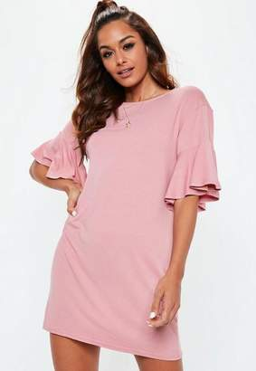 Missguided Pink Frill Sleeve T Shirt Dress