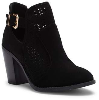 Top Moda Perforated Ankle Heel Bootie