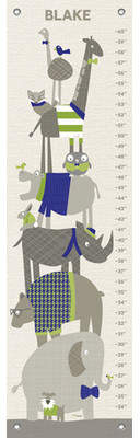 Oopsy Daisy Fine Art For Kids Happy Animal Herd by Vicky Barone Personalized Growth Chart