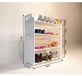 """Dl Furniture WPC Multipurpose Shoe Rack & Book Shelf 4 Tiers Tall & Wide Environmental Friendly Material - White L24"""" x W9.5"""" x H26"""""""