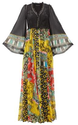 Etro Wiltshire Floral Print Silk Chiffon Maxi Dress - Womens - Yellow Multi