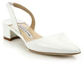 Manolo Blahnik Aspro Patent Leather Block Heel Slingbacks $675 thestylecure.com