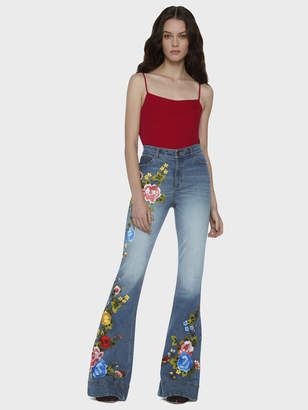Alice + Olivia Beautiful Embroidred High Waist Bell Jeans