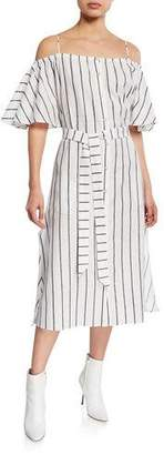 Palmer Harding palmer//harding Tulum Striped Cold-Shoulder Midi Dress