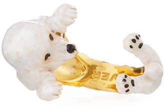 Visconti & Du Reau Poodle Plated Enamel Dog Hug Ring, Size 7