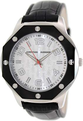 Christian Audigier Men's Revo SWI-657 Black Leather Quartz Watch with Dial