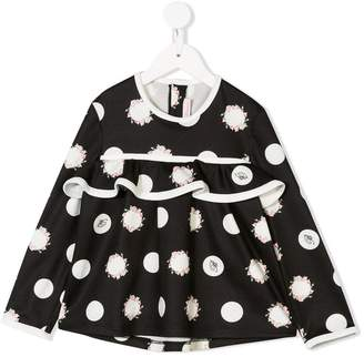 Miss Blumarine floral polka dot blouse