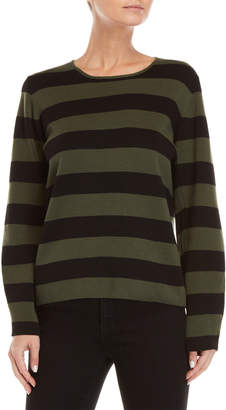 Le Mont St Michel Olive Striped Sweater