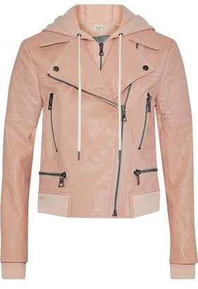 Alice + Olivia Ao.la By Avrel Leather Hooded Biker Jacket