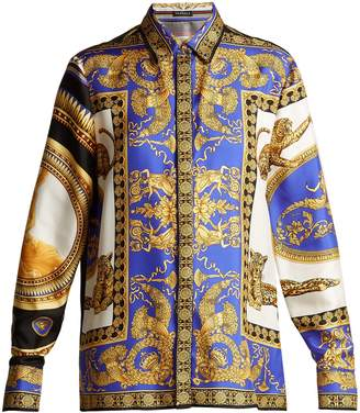 Versace Lovers baroque-printed silk-twill blouse