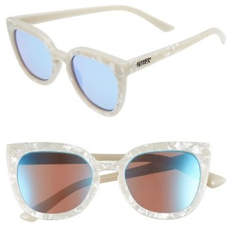 Women's Quay Australia Noosa 50Mm Square Sunglasses - Pearl/ Blue $55 thestylecure.com