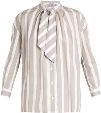Thierry Colson Rowena striped tie-neck cotton-poplin shirt
