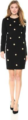 Nicole Miller New York Women's Long Sleeve Pearl Embellished Bodycon Dress