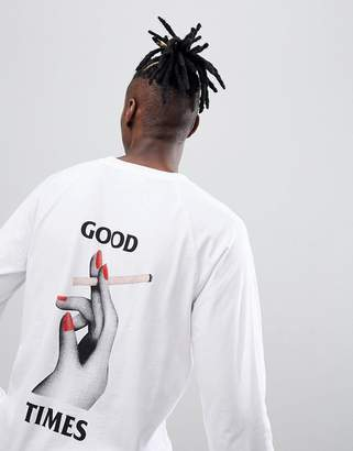 Wood Wood Han Long Sleeve T-Shirt With Box Logo In White