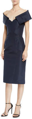 Zac Posen 1/2-Sleeve Off-The-Should Faille Cocktail Dress