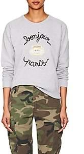 """Maison Labiche Women's """"Bonjour Paris"""" Cotton Fleece Sweatshirt - Gray"""