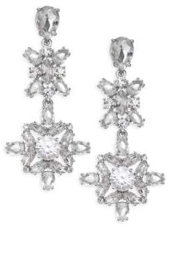 Kate Spade Crystal Floral Drop Statement Earrings
