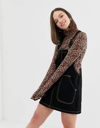 Monki denim dungaree dress in black