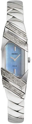 Seiko Women's Solar Tressia Diamond Accent Stainless Steel Bracelet Watch 16mm SUP331 $525 thestylecure.com