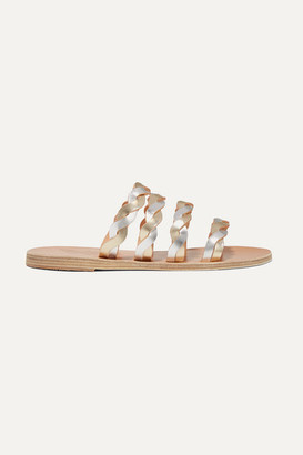 Ancient Greek Sandals Kynthia Braided Metallic Leather Sandals - Silver