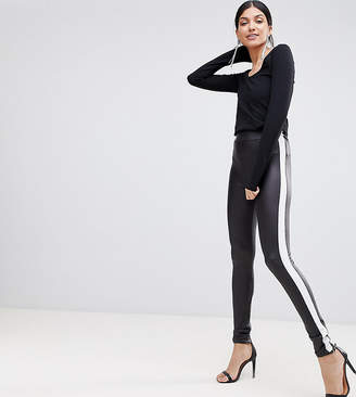 Asos Tall DESIGN Tall Leather Look Leggings With Side Stripe