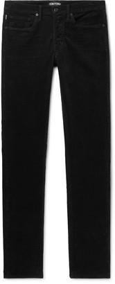 Tom Ford Slim-Fit Stretch-Cotton Corduroy Trousers - Men - Black