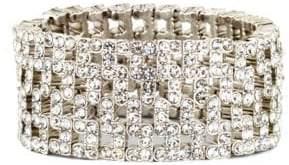 Anne Klein Silvertone Wide Stretch Crystal Encrusted Bracelet