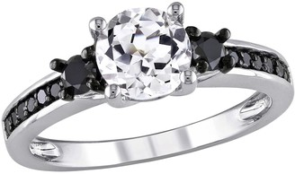 Black Diamond Stella Grace Lab-Created White Sapphire and Engagement Ring in Sterling Silver (1/3 ct. T.W.)