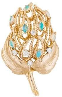 14K Opal & Diamond Leaf Brooch